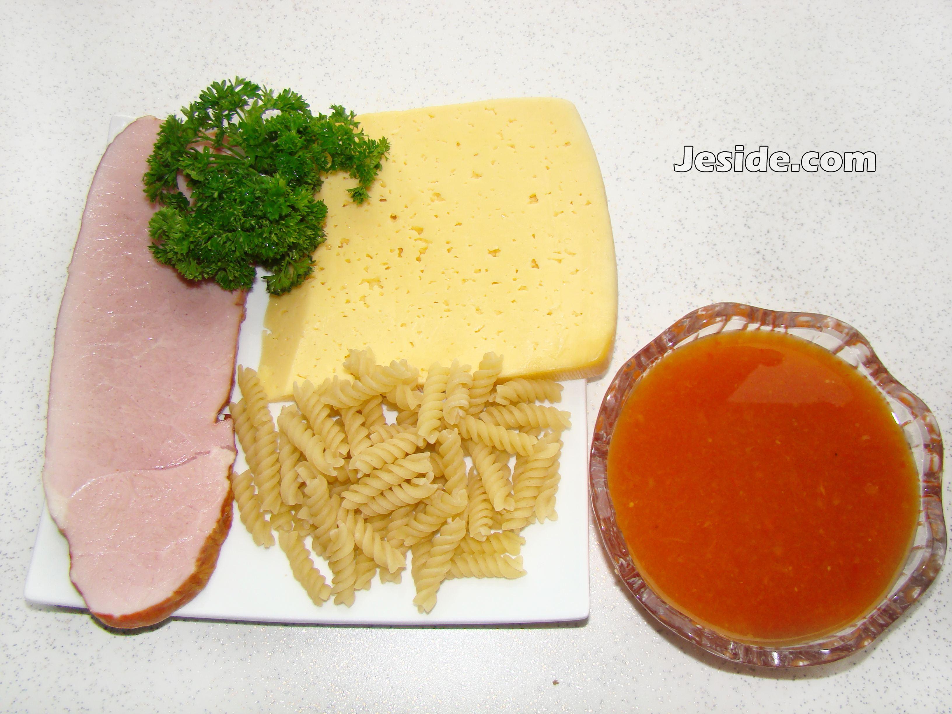 Рецепт спагетти ветчина сыр